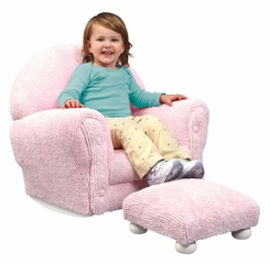 Rocking Chair for Kids - Pink Chenille Rocker with Ottoman Set - KidKraft Furniture - 18620