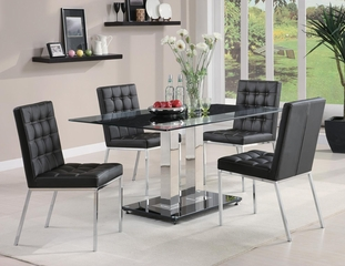 Rolien 5 Piece Chrome Finish Table Set - 102311