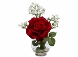 Rose and Gypso with Fluted Vase Silk Flower Arrangement - Nearly Natural - 1282