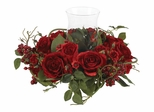 Rose Candleabrum Silk Flower Arrangement in Red - Nearly Natural - 4685-RD