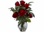 Rose with Fern Silk Flower Arrangement - Nearly Natural - 1280
