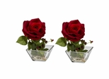 Rose with Square Vase Silk Flower Arrangement (Set of 2) - Nearly Natural - 1285-S2