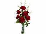 Roses with Cherry Blossoms Silk Flower Arrangement - Nearly Natural - 1203
