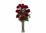 Roses with Cylinder Vase Silk Flower Arrangement - Nearly Natural - 1206