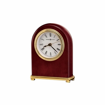 Rosewood Arch Alarm Clock with Brass Base - Howard Miller