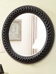 Round Black Mirror with Woven Carvings Frame - 901769