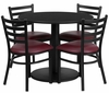 Round Black Table Set with 4 Ladder Back Burgundy Vinyl Seat Metal Chairs - RSRB1005-GG