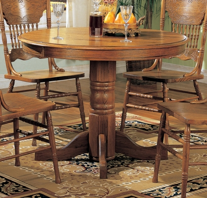 Round Dining Table in Oak - Coaster