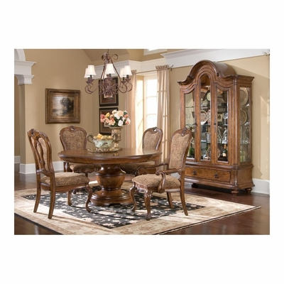 Round Dining Table with Curio China, 2 Arm and 2 Side Chairs - Largo - LARGO-WG-D121A-32BT-SET