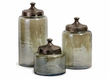 Round Green Luster Canisters (Set of 3) - IMAX - 6971-3
