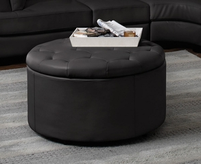 Round Leather Storage Ottoman with Button-Tufted Seat - 501105