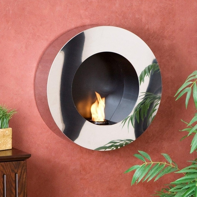 Round Stainless Steel Wall Mount Gel Fuel Sconce - Holly and Martin