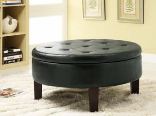 Round Upholstered Storage Ottoman with Tufted Top - 501010