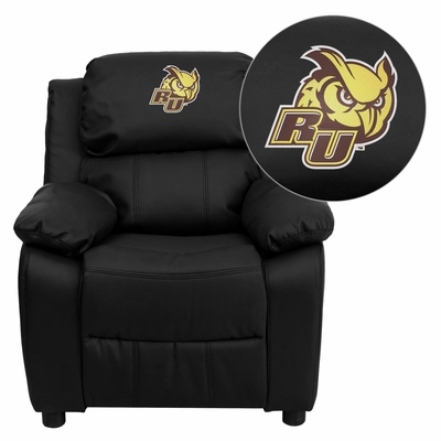 Rowan University Owls Black Leather Kids Recliner - BT-7985-KID-BK-LEA-41066-EMB-GG
