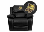 Rowan University Owls Black Leather Rocker Recliner  - MEN-DA3439-91-BK-41066-EMB-GG