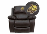 Rowan University Owls Brown Leather Rocker Recliner - MEN-DA3439-91-BRN-41066-EMB-GG