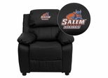 Salem State University Vikings Black Leather Kids Recliner - BT-7985-KID-BK-LEA-41068-EMB-GG