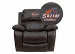 Salem State University Vikings Brown Leather Rocker Recliner - MEN-DA3439-91-BRN-41068-EMB-GG