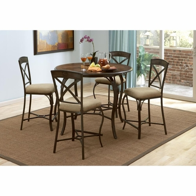 San Miguel Gathering Table and 4 Counter Stools Antique Brown - Largo - LARGO-ST-D191-36-22-SET