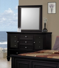 Sandy Beach Dresser with Mirror in Black - Coaster - 201323-24-SET