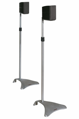 Satellite Speaker Stands Adjustable Height in Titanium Color - Atlantic - SPSCUR47