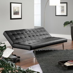 Sauder Avenue Black Duraplush Click-Clack Convertible Sofa