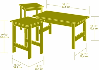 Sauder Beginnings 3 Pack Table Set Highland Oak