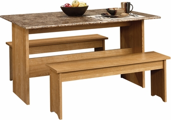 "Sauder Beginnings 49"" W Trestle Table With Benches Highland Oak"