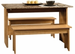 "Sauder Beginnings 53"" W Trestle Table with Benches Highland Oak"