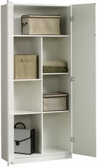 Sauder Beginnings Adjustable Shelves Double Door Storage Cabinet Soft White