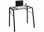 Sauder Beginnings Glass Top Home Office Desk Black Steel Frame