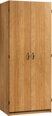 Sauder Beginnings Wardrobe Storage Cabinet with Garment Rod Highland Oak