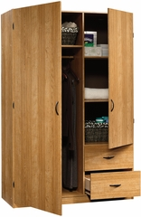Sauder Beginnings Wardrobe with Shelves & Drawers Highland Oak