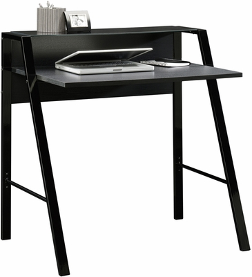 Sauder Beginnings Writing Desk, Glass Top Shelf Black Steel