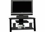 "Sauder Beginnins Panel 42"" TV Stand with Mount Black with Clear Glass"