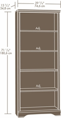 Sauder Carolina Estate 5-Shelf Bookcase Select Cherry