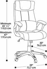 Sauder Gray Fabric Executive Chair with Built-in Headrest