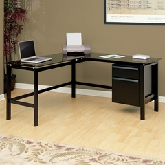 Sauder L-Shaped Desk Lake Point Black / Black