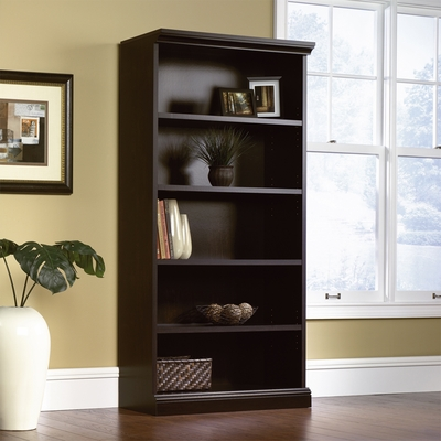 Sauder Library Bookcase 3 Adjustable Shelves Estate Black