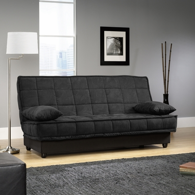 Sauder Lincoln Black Microfiber Click-Clak Sofa with Storage