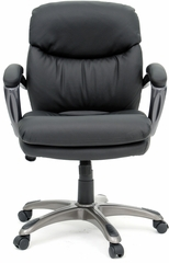 Sauder Mid-Back Managers Chair Duraplush Black Vinyl with Lumbar Support