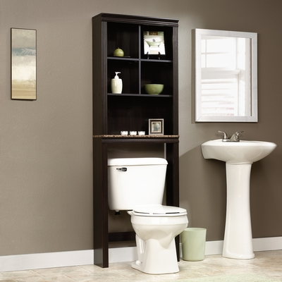 Sauder Peppercorn Over the Toilet Etagere Cinnamon Cherry