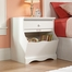 Sauder Pogo Nightstand with Drawer & Storage Bin Soft White