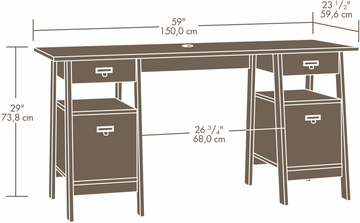Sauder Stockbridge Executive Trestle Desk Jamocha Wood