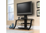 "Sauder Studio Edge 50"" TV Stand With Mount Black with Black Glass"
