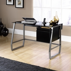 Sauder Velocity Computer Desk Black / Black Glass