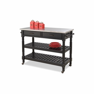 Savannah Kitchen Cart in Black - Home Styles - HS-5218-951