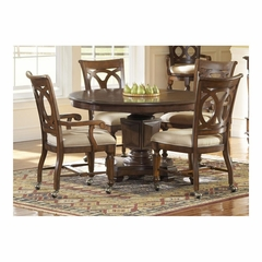 Savannah Pedestal Table Dining Set - Castered Arm and Side Chairs - Largo - LARGO-WG-D177-30BT-45-47-SET