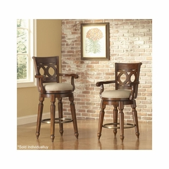 Savannah Upholstered Wood Swivel Stool Old Oak - Largo - LARGO-ST-D177-STOOL