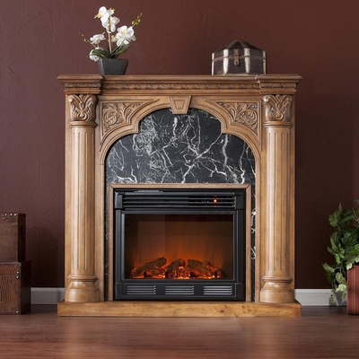 Savino Old World Oak Electric Fireplace - Holly and Martin